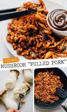 By shredding king oyster mushrooms seasoning with spices and baking you can create a vegan mushroom pulled pork recipe that rivals the real stuff! Perfect on vegan sandwiches tacos nachos.or whenever you need pulled pork. Packed with meaty flavor ( Mushroom Recipes, Veggie Recipes, Whole Food Recipes, Diet Recipes, Vegetarian Recipes, Healthy Recipes, King Oyster Mushroom Recipe, Pork Mushroom, Vegetarian Sandwiches