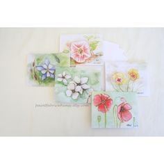Note Card Stationary Set Original Watercolor Prints Set of 5 Original... ($7) ❤ liked on Polyvore featuring home, home decor, easter home decor and floral home decor