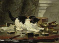 Katjesspel, Henriëtte Ronner, ca. 1860 - ca. 1878