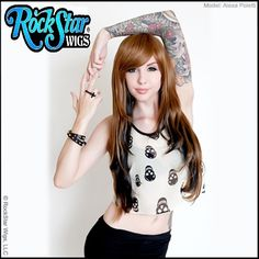RockStar Wigs® Light Brown & Black Wig  Down Town Girl Light Brown Black Ombre #RockStarWigs #FullWig