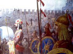 Emperor Alexios I Komnenos with their soldiers.(detail) Art: Rosen Toshev.