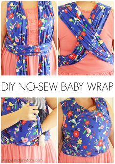 DIY No Sew Baby Wrap - Make this at home for just a few dollars!!  No reason to spend $50 or more for an expensive baby carrier! via @PennyPinchinMom