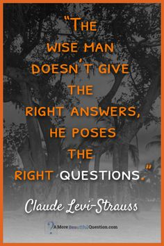 """""""The wise man doesn't give the right answers, he poses the right questions.""""—Claude Levi-Strauss Quotes About Questioning - A More Beautiful Question by Warren Berger #inspirationalquotes"""