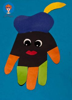 Materialen: Gekleurd papier Stickers of vormpjes voor de ogen Schaar Lijm Trek het handje van je kind over op zwart papier. Knip het handje uit. Knip een pietenmuts uit van gekleurd papier en plak …