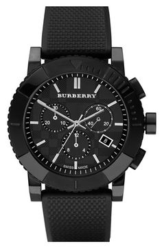 Burberry Round Chronograph Rubber Strap Watch available at #Nordstrom