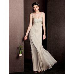 Sheath/Column Straps Floor-length Silk Bridesmaid Dress