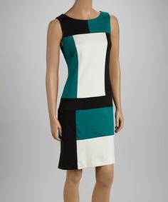 Black & Green Color Block Sleeveless Dress
