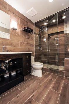 30 Wood Tile Bathroom Design Ideas - Better Homes and Gardens Wood Tile Shower, Wood Bathroom, Modern Bathroom, Small Bathroom, Master Bathroom, Wood Tiles, Bathroom Ideas, Wood Finish Tiles, Pebble Tiles