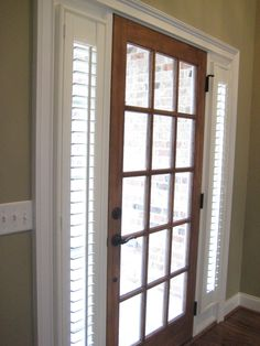 Sidelight Blinds idea: Plantation Shutters can be custom made for those small sidelight windows by your front door. We do sidelight blinds! French Doors With Sidelights, Sidelight Windows, Front Door Entryway, Glass Front Door, Entry Doors, Front Doors, Contemporary Interior Doors, Interior Barn Doors, Modern Interior
