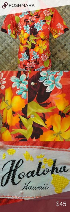 """VLV 50s HOALOHA mens HAWAIIAN Shirt. Large AUTHENTIC HAWAIIAN - This listing is for a Vintage 1950's HOALOHA men's Hawaiian Bright Floral Foliage print shirt. Made of 100% Cotton fabric. Button front with 4 button closures, horizontal button holes, 1 chest pocket, and short sleeves. This shirt is PRE-OWNED and in EXCELLENT wearable condition. There are no holes, rips, or tears in the fabric. NO Fading. Size is LARGE. Measurements are: Length 27"""", Chest 46"""", Waist 44"""", Hip 44"""", Sleeves 10""""…"""