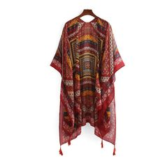 SheIn(sheinside) Tribal Print Tassel Trimmed Kimono (€19) ❤ liked on Polyvore featuring intimates, robes, red, kimono robe, tribal print kimono, tribal kimono, red robe and red kimono