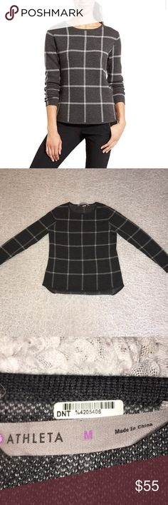 Athleta Wool Dakota Sweater Athleta Dakota Sweater Worn once, great condition One small thread shown with arrow in picture 100% Wool Athleta Sweaters Crew & Scoop Necks