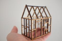 2of2 / Small geometric birch house framework, 3D architectural line drawing
