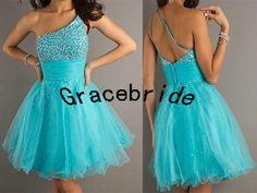 Mini blue tulle prom dresses with sequins hot by Gracebride, $108.00 I think I found my homecoming dress