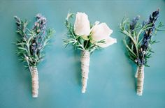 lavender-turquoise-boutonniere - Once Wed Lavender Boutonniere, Rustic Boutonniere, Boutonnieres, Wedding Boutonniere, Wedding Bouquets, Wedding Flowers, Bridesmaid Bouquets, Wedding Buttonholes, Wedding Outfits