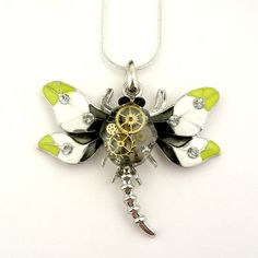 Dragonfly Necklace Enamel Painted Wings Pendant ( mechanical watch parts in resin )  .925 Sterling Silver Plated Snake Link Necklace