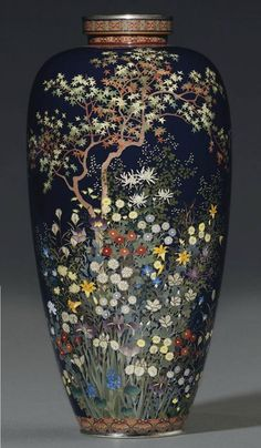 """ ""A Cloisonné Vase Mark of the Hayashi Kodenji Workshop, Meiji Period (late century) Worked in various thicknesses of silver wire and coloured cloisonné enamels on a dark blue ground with a maple tree surrounded by a profusion of. Japanese Porcelain, Japanese Ceramics, Japanese Pottery, Vases, Pot Pourri, Keramik Vase, Art Japonais, Objet D'art, Ginger Jars"