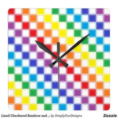 Lined Checkered Rainbow and White Square Wall Clock