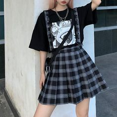 Edgy Outfits, Retro Outfits, Grunge Outfits, Cute Casual Outfits, Girl Outfits, Egirl Fashion, Kawaii Fashion, Korean Fashion, Fashion Outfits