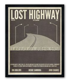 New poster line for my shop. I've seen these done for movies but not songs...I'm psyched! Love how they are turning out! Lost Highway by Bon Jovi lyric poster.