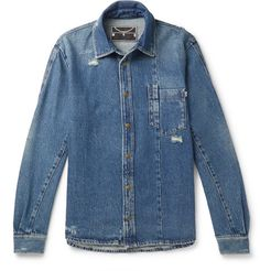Mcq By Alexander Mcqueen Distressed Denim Shirt In Blue Best Casual Shirts, Alexander Mcqueen T Shirt, Best Dressed Man, Denim Shirt Men, Distressed Denim, Fashion News, Button Up Shirts, Men Casual, Man Shop