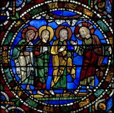 Jesus explaining the Transfiguration - Chartres Cathedral Stained Glass - Bay 51 (The Passion)