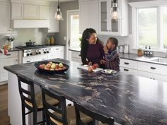 Large kitchen with 180fx® laminate Blue Storm island  Click through to get a free sample of Blue Storm
