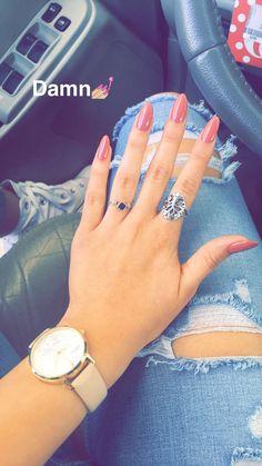 Pretty pink almond nails