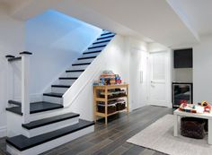 New Interior Stairs Design Basement Steps 31 Ideas Open Basement Stairs, Basement Steps, Basement Remodel Diy, Open Staircase, Basement Bedrooms, Basement Flooring, Basement Renovations, Staircase Design, Home Remodeling