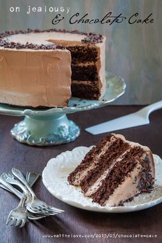 LOVE this post --> On Jealousy and Chocolate Cake. A confession of being chocolate cake Köstliche Desserts, Delicious Desserts, Yummy Food, Passover Desserts, Homemade Chocolate, Chocolate Recipes, Delicious Chocolate, Cupcakes, Cupcake Cakes