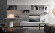 Contemporary TV wall unit lacquered With White Storage With Bookshelvie and TV Mount