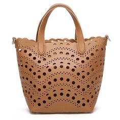 Women Hollow Out PU Leather Handbag Crossbody Bag