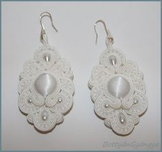 Snowwhite soutache wedding earrings by BottyanGyongye on Etsy
