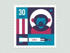 Space Animal Stamp Series - Ham by Eric R. Mortensen