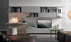 Living-room-wall-unit-system-combines-entertainment-needs-with-and-workstation. - Living-room-wall-unit-system-combines-entertainment-needs-with-and-workstation. Built In Tv Wall Unit, Wall Units With Fireplace, Desk Wall Unit, Living Room Wall Units, Living Room Designs, Wall Tv, Wood Wall, Modern Fireplace, Brick Wall