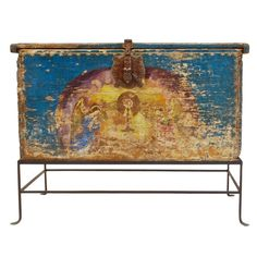 Very Rare Mexican Baroque Painted Chest | From a unique collection of antique and modern blanket chests at http://www.1stdibs.com/furniture/storage-case-pieces/blanket-chests/