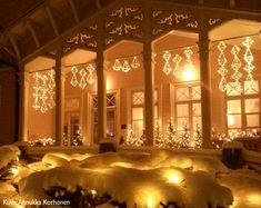 www.kenkävero.fi Kenkäveron pappila lumiverhossa. Chandelier, Ceiling Lights, Lighting, Christmas, Outdoor, Home Decor, Xmas, Outdoors, Candelabra