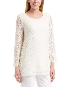 Look at this #zulilyfind! Ivory Lace Sheer-Sleeve Scoop Neck Top #zulilyfinds