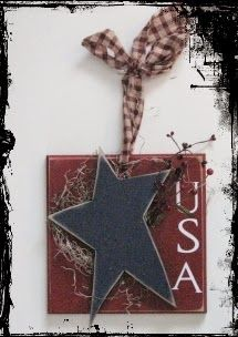 "USA Door Hanger - 10"" x 10"".  Kit includes wood, berries, moss, vinyl, fabric handle and supplies needed to complete this project.  Cost ~ $15.00"