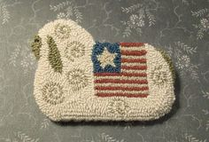 punch needle  | Primitive Needle Punch Pin Americana Sheep With by thetalkingcrow