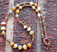 RESERVED FOR BILUXI -  (8-5-15) Flower Jade and Copper Necklace, ooak, Gifts for Women, Flower Jade Nuggets, Soft Spring Colors