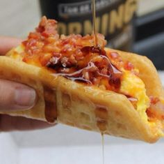 This is Taco Bell's new waffle taco with bacon http://instagram.com/p/kz5lpAvgNi/