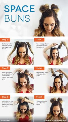 Check out our collection of easy hairstyles step by step diy. You will get hairstyles step by step tutorials, easy hairstyles quick lazy girl hair hacks, easy hairstyles step by step quick & easy hairstyles for work long lazy girl messy buns. Space Buns Hair, Medium Hair Styles, Curly Hair Styles, Hair Medium, Easy Hair Styles Quick, Medium Long, Short Styles, Medium Brown, Curly Updos For Medium Hair