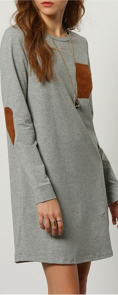 Beautifully crafted in soft cotton, this adorable Grey Long Sleeve Casual Dress is suitable for each ages, every kind body size, and also it is very cozy and pretty.