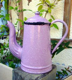 Vintage French enamel coffee pot by letsbevintage on Etsy, $110.00