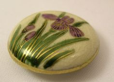 Six Early 20th Century Satsuma Pottery Iris Buttons from Japan