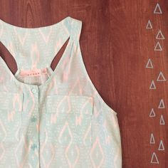 ✨WKND SALE✨Mint Button-Up Tank Cute Mint Tank Top! Perfect for spring and summer. Comfortable and flowy. 100% Rayon 28 inches long, 17 inches across under arm.     Need any other information? Measurements? Materials? Feel free to ask! Don't be shy, I always welcome reasonable offers! Fast shipping! Same or next day! Sorry, no trades!  Happy Poshing!☺️ Kenar Tops Tank Tops