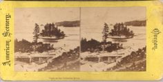 Stereoview Columbia River w/ Advertisement = New Bazaar, Patterson New Jersey