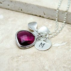 Personalized Orchid Necklace, Ruby Pink Glass Drop and Initial - 'Isobella' - Sterling Silver, Wedding Jewelry $34.50