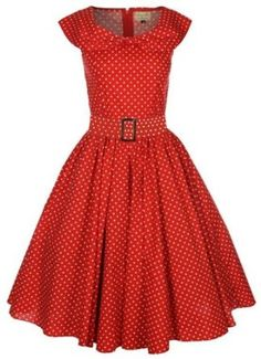 $47 Amazon.com: Lindy Bop 'Hetty' Red Polka Dot Bow Shawl Collar Vintage 1950'S Rockabilly Swing Party Dress: Clothing